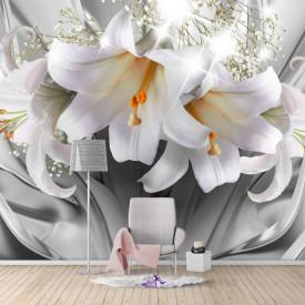 Fototapete 3D, Crini albi pe un fundal cenușiu abstract
