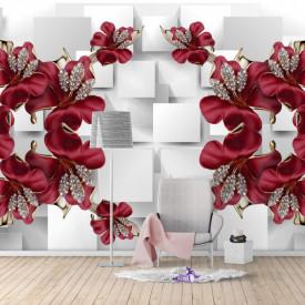 Fototapete 3D, Flori de Bourgogne pe un fundal alb abstract