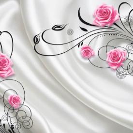 Fototapete 3D, Trandafiri roz pe un fon alb