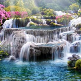 Fototapete, Cascadă minunată cu apă albastră