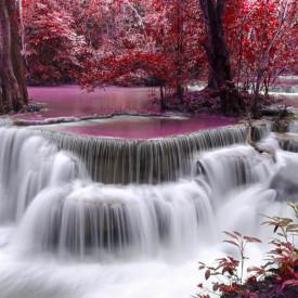 Fototapete, Cascadă pe fundalul unei păduri fermecate în culori roz