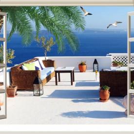 Fototapete, Deschide fereastra albă cu vedere la balcon