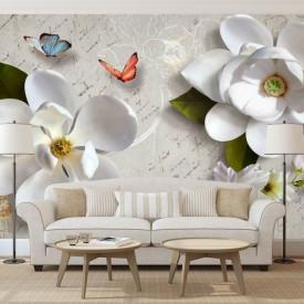 Fototapete, Flori albe și fluturi pe fundalul unei scrisori