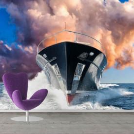 Fototapete, O corabie mare pe un fundal de nori roz.