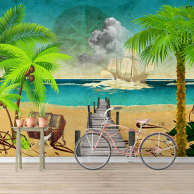 Fototapete Pentru Copii, Vedere la mare cu palmieri pe plajă