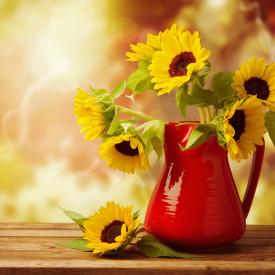 Poster, Buchet de floarea-soarelui într-o vază roșie