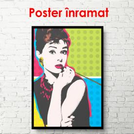 Poster, Desen al unei domnișoare în stil retro