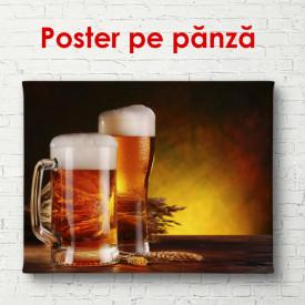 Poster, Două pahare de bere pe fundal maro