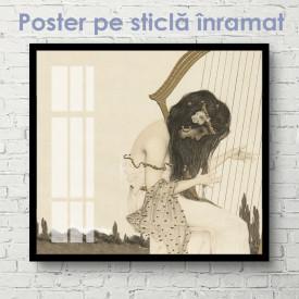 Poster, Fată care cântă la harpă