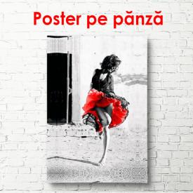 Poster, Fată cu o fustă roșie