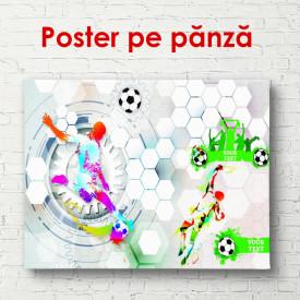Poster, Fotbalistul abstract cu minge pe un fundal gri