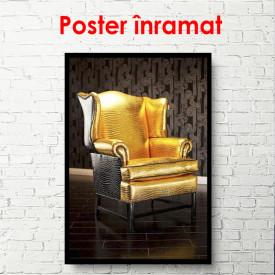 Poster, Fotoliu auriu pe fundal negru