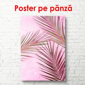Poster, Frunze de palmier pe fundal roz aprins