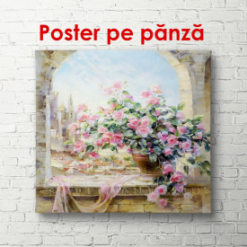 Poster, Ghiveci de flori la fereastră