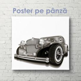Poster, Mașină retro pe fundal alb