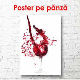 Poster, Paharul cu vin roșu și stropi pe un fundal alb