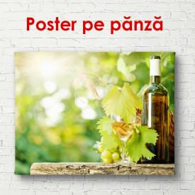 Poster, Sticlă de vin pe un butoi