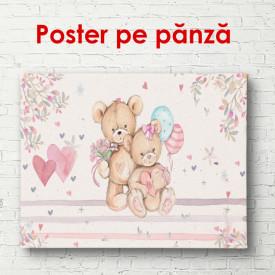 Poster, Urși pe un fundal roz