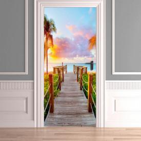 Stickere 3D pentru uși, Plaja liniștită, 1 foaie de 80 x 200 cm