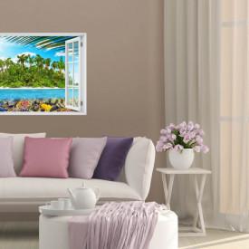 Stickere pentru pereți, Fereastra 3D cu vedere spre o insulă magică