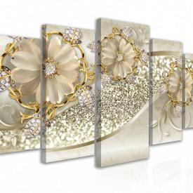 Tablou modular, Bijuterii în formă de flori în nuanțe aurii
