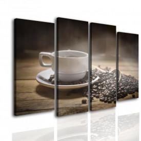 Tablou modular, Boabe de cafea pe un fundal cafeniu.