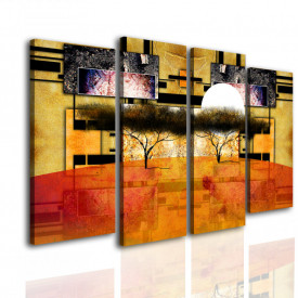 Tablou modular, Copaci africani în stil vintage