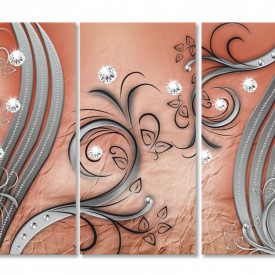 Tablou modular, Desene bej pe un fundal maro.