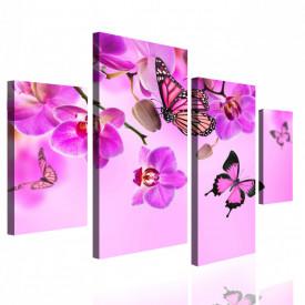 Tablou modular, Orhidee roz cu fluturi