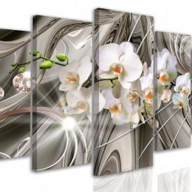 Tablou modular, Orhidei albe pe un fond de metal lichid