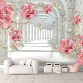 Fototapet 3D, Coloane și flori prețioase