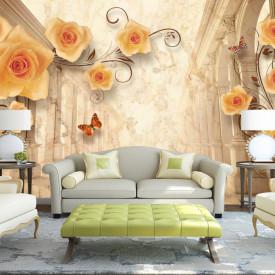 Fototapet 3D, Trandafiri galbeni și fluturi pe un fundal 3D