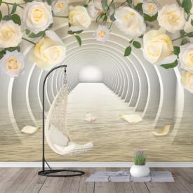 Fototapet 3D, Tunel 3D și trandafiri crem