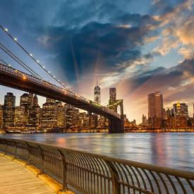 Fototapet, Apusul de soare în New York