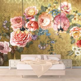 Fototapet, Buchet de flori pe un fundal auriu