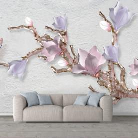 Fototapet, Crenguța cu flori de liliac pe fundal gri