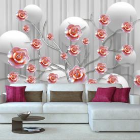 Fototapet Fantezie, Crenguță cu flori roșii pe un fond gri cu sfere