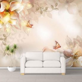 Fototapet Fantezie, Flori bej și fluturi pe un fond bej