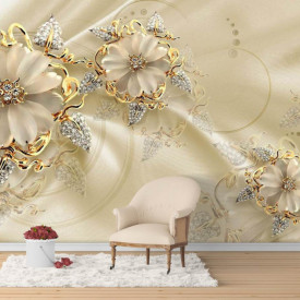 Fototapet Fantezie, Flori de aur pe un fond de mătase