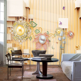 Fototapet Fantezie, Perete galben cu ornamente 3D
