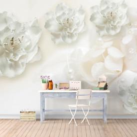 Fototapet, Flori albe din satin