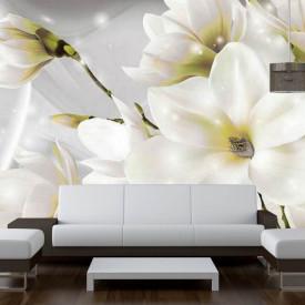 Fototapet, Flori albe pe un fundal de mătase