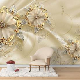 Fototapet, Flori de aur pe un fundal de mătase