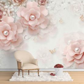 Fototapet, Flori roz și perle pe un fundal alb