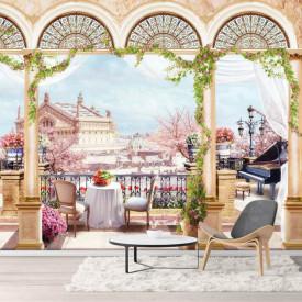 Fototapet Fresco, Fototapetecu o vedere frumoasă a orașului de pe balconul arcuit