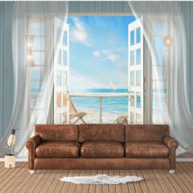 Fototapet Fresco, Fototapete cu o fereastră deschisă și cu perdele albe