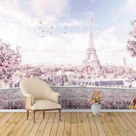 Fototapet Fresco, Paris de culoarea roză