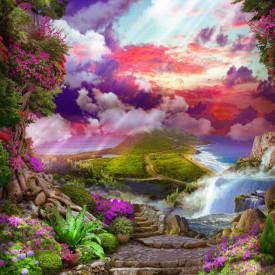 Fototapet Fresco, Peisajul frumos cu vedere la un apus de soare purpuriu