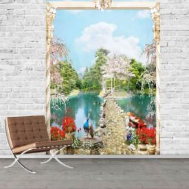 Fototapet Fresco, Peisajul frumos în grădină lângă lac