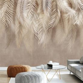 Fototapet, Frunze de palmier de culoare crem pe fond maro